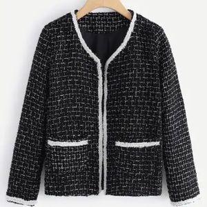 Designer Inspired Contrast Trim Jacket Black